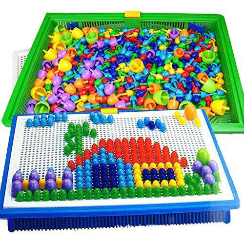 1 Set 296pcs Mushroom Nail Intelligent 3d Puzzle Games Diy Mushroom Nail Plastic Flashboard Children Toys Educational Toy By Shadow Hunter.
