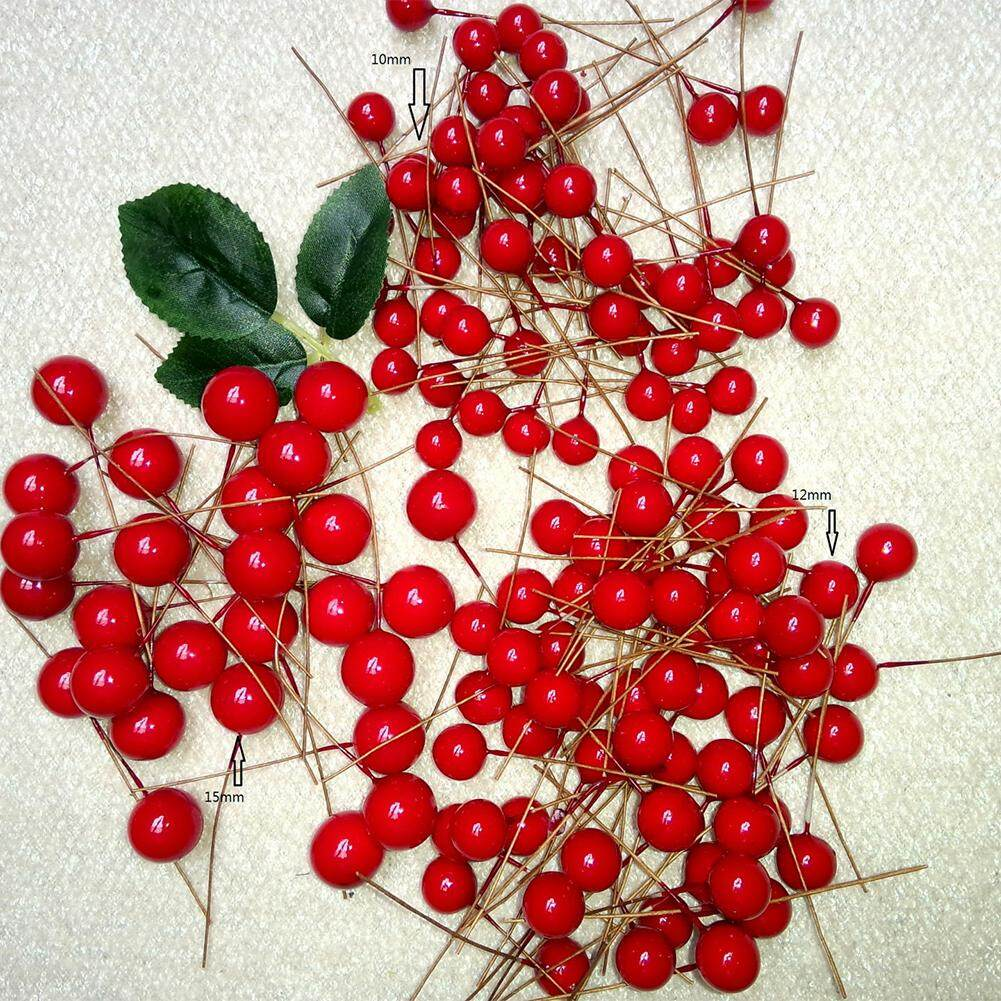 Veecome 100pcs 10mm Diy Simulate Red Berry For Christmas Tree Garlands Wedding Decoration By Veecome.