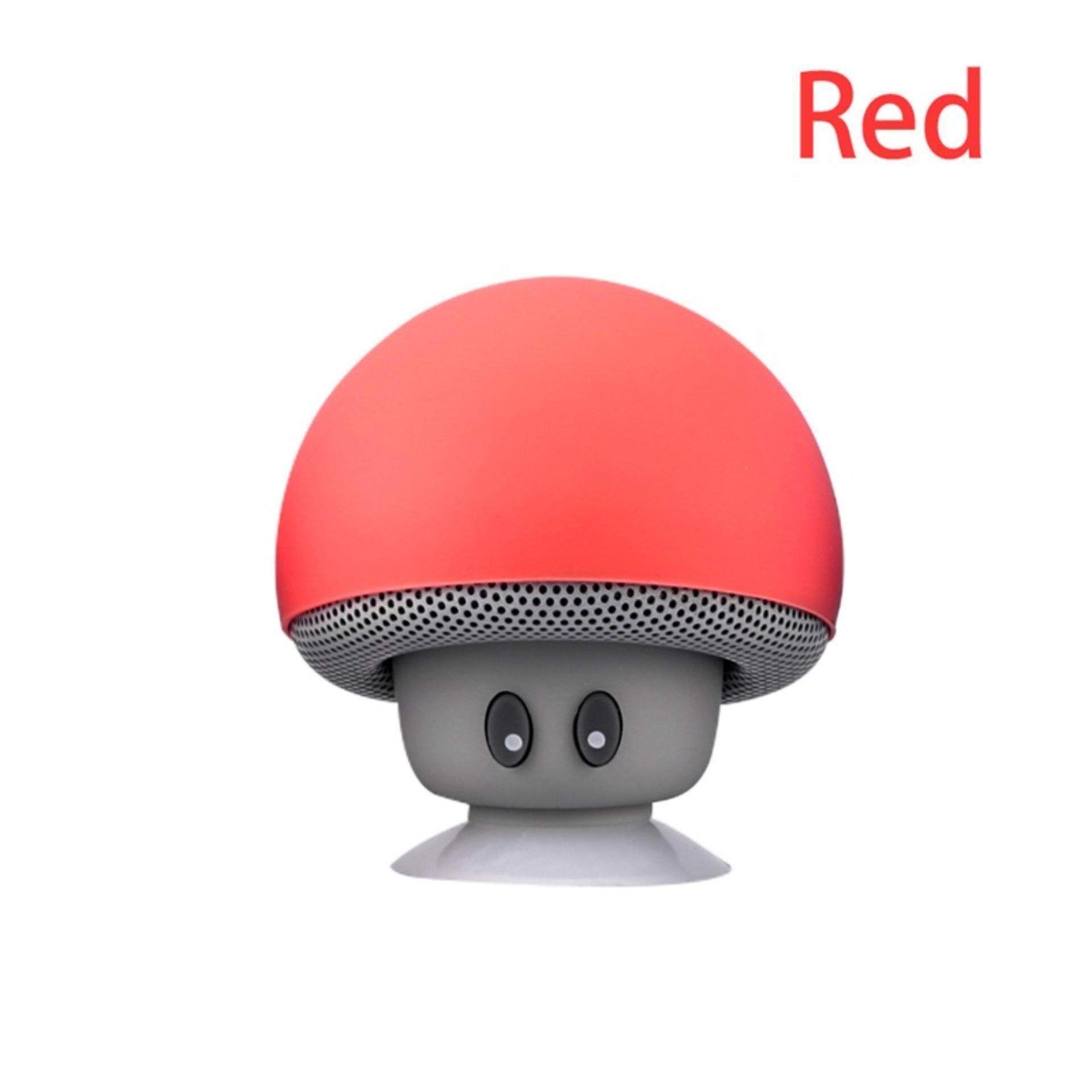 Mushroom Bluetooth Speaker Stereo Mini Mikrofon untuk Ponsel Meja PC Laptop Telepon Pintar Merah