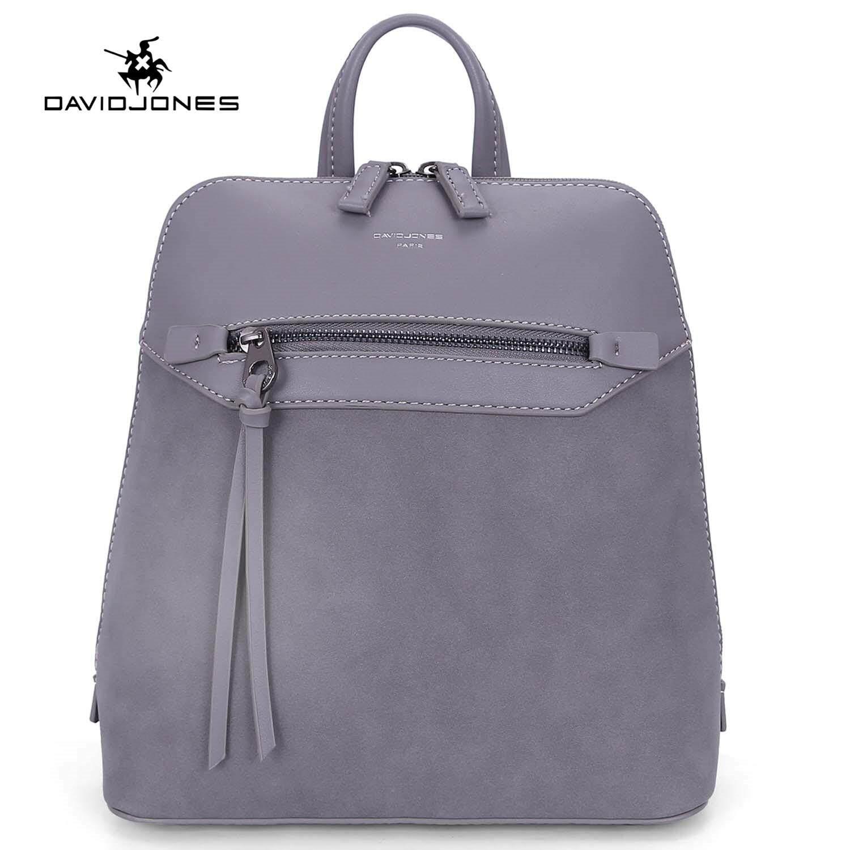 10ae408c7b1 DAVIDJONES women backpack pu leather female shoulder bag large lady  patchwork back bag girl casual book
