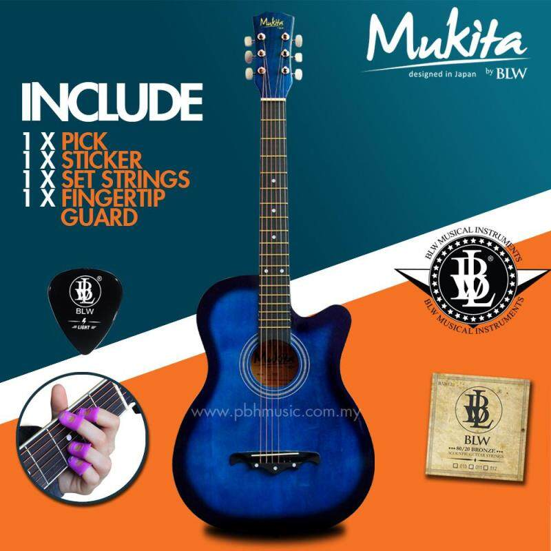 Mukita by BLW Standard Acoustic Folk Cutaway Basic Guitar Package 38 Inch for beginners with String Set, Fingertip Guard, Pick and Merchandise Sticker (Blue) Malaysia