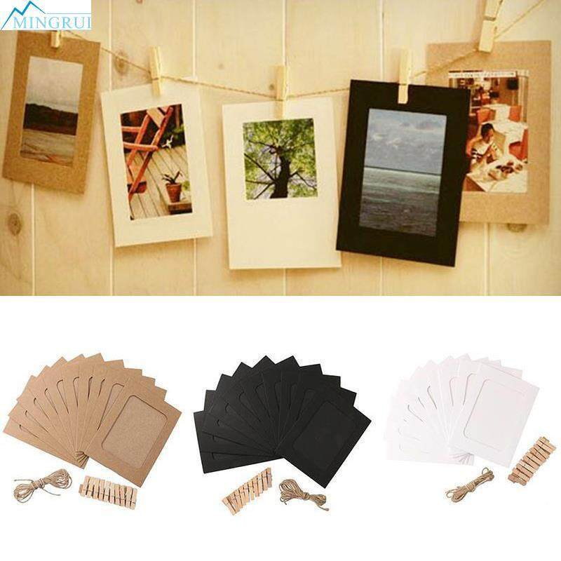 6a514e8bfb1 10 Set Vintage Paper Photo Frame Wall Hanging Rope Clip 15 12cm Creative