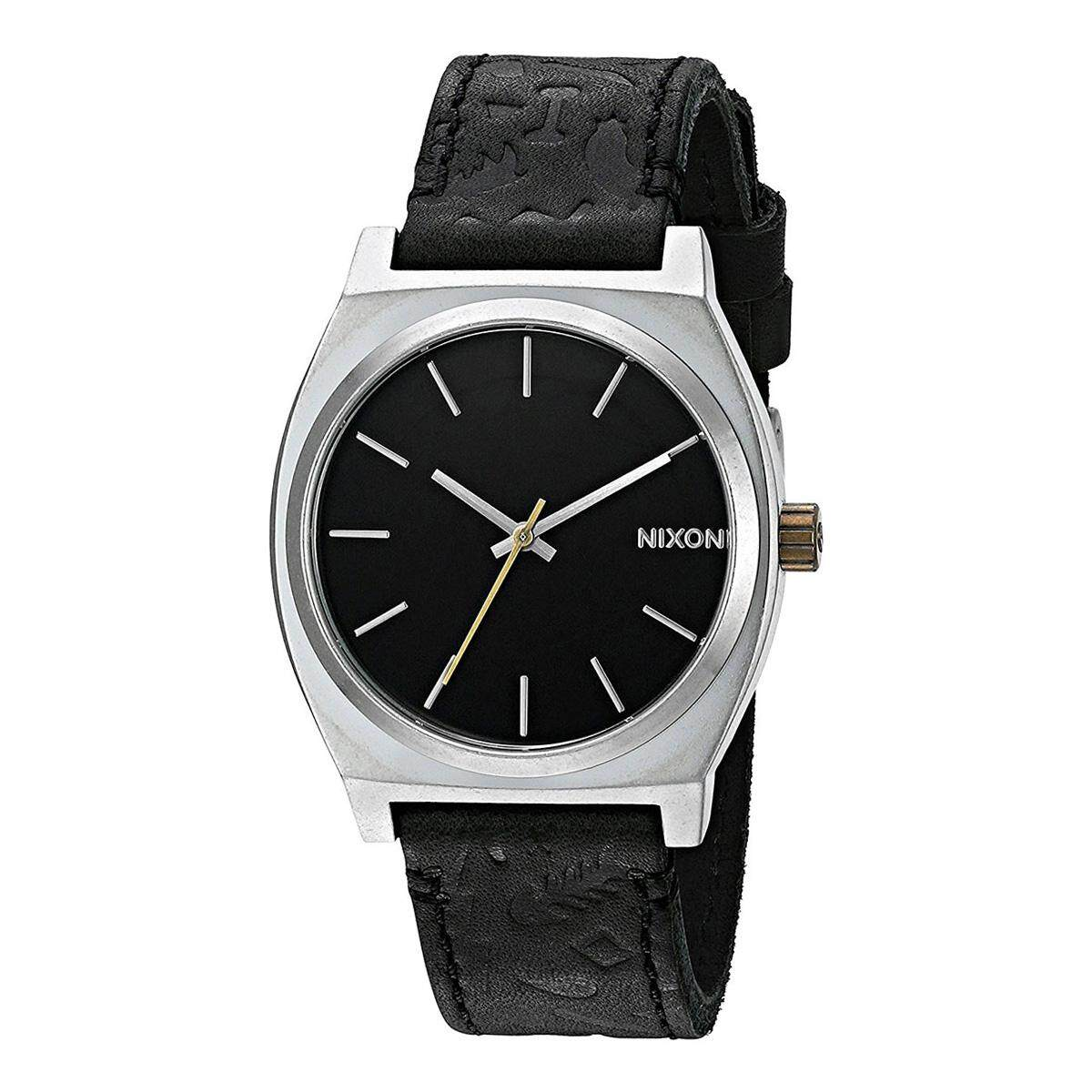 Nixon Time Teller Black Stainless-Steel Case Leather Strap Mens A0452222