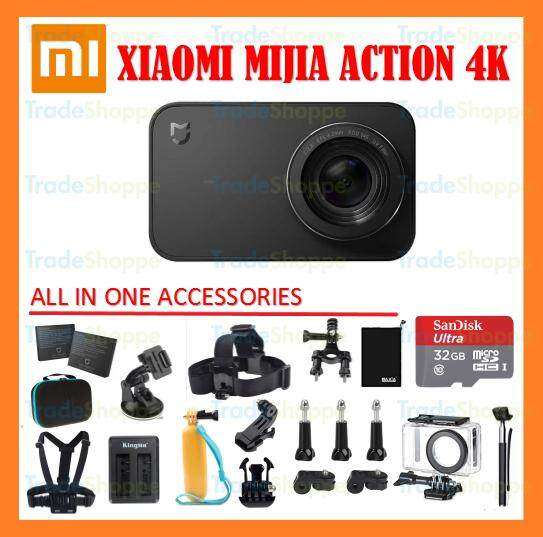 [Super sales Bundle 32GB] Xiaomi MiJia 4K Action Camera Small Sport Cam 3840 x 2160p WiFi 2.4? inches Touch Screen F2.8 Aperture Xiaoyi with All In One Accesories