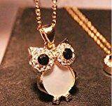 Chopmall(TM) Women`s vintage rhinestone natural shell owl Pendant necklace - intl
