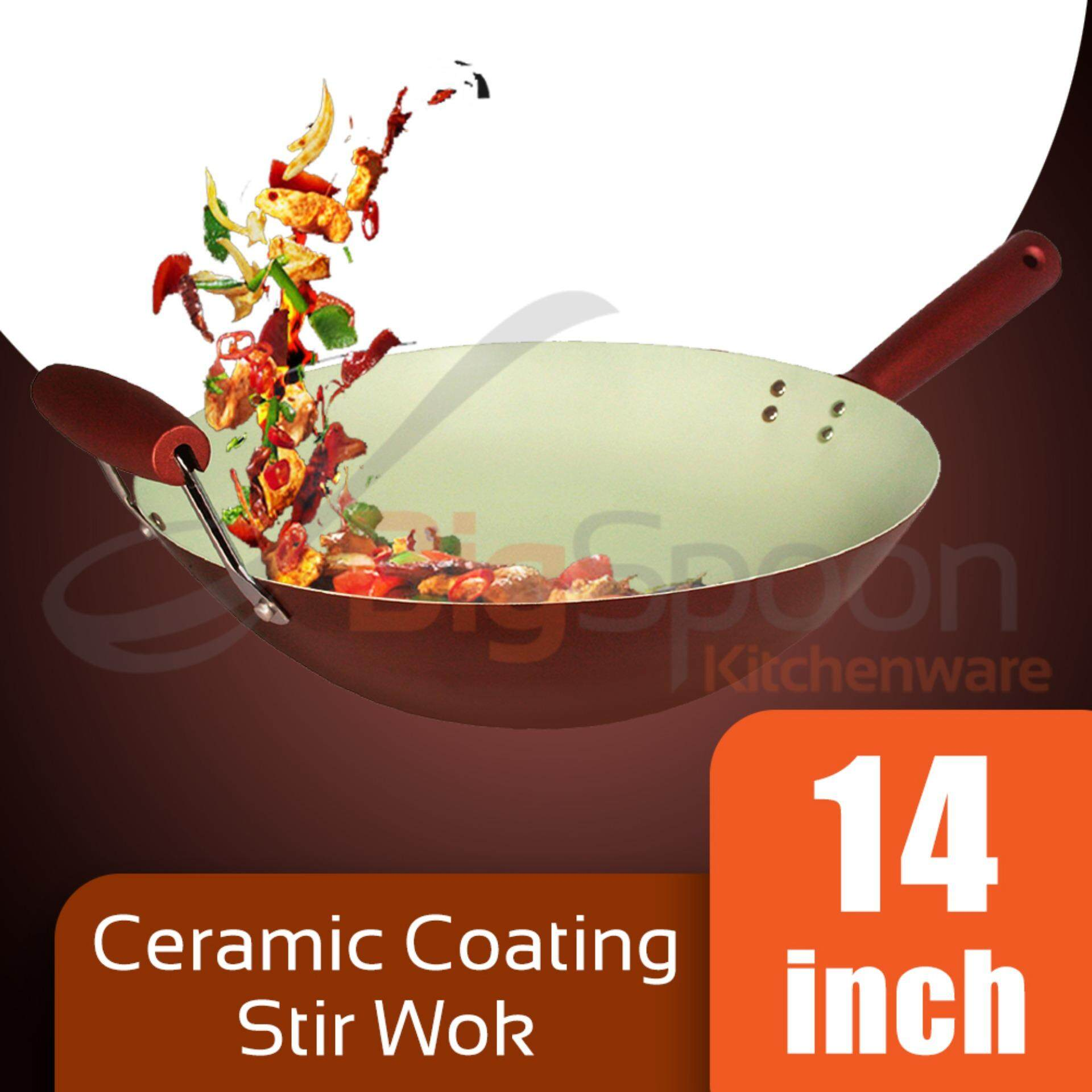 Stir Wok Ceramic Coated Non-Stick 14 inch