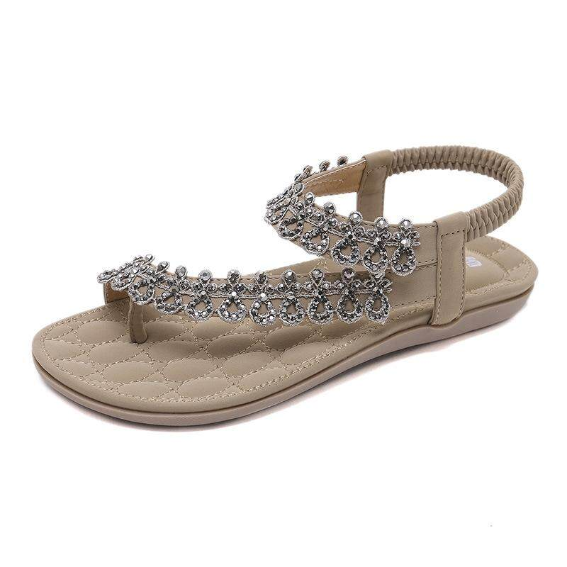 b183281bb427e0 2018 new national sandals bohemian rhinestone flowers foreign trade large  size flat shoes wholesale a generation