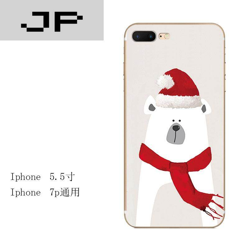 JP Fashion Brand iphone7 Apple 6s Mobile Shell 6plus Silicone All-inclusive 5se Anti-fall Embossed Christmas scarf White Bear Soft shell([not available for sale in this area] - 5.5 inch i7plus ★ Vintage Christmas Bear)
