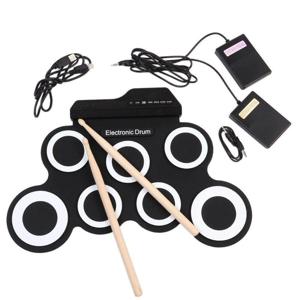 Portable Electronic Roll Up Drum Pad Set 9 Silicon Pads Built-in Speakers with Drumsticks Foot Pedals - intl