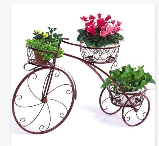 Outdoor Indoor Pot Plant Stand Garden Decor Flower Rack Wrought Iron Bicycle