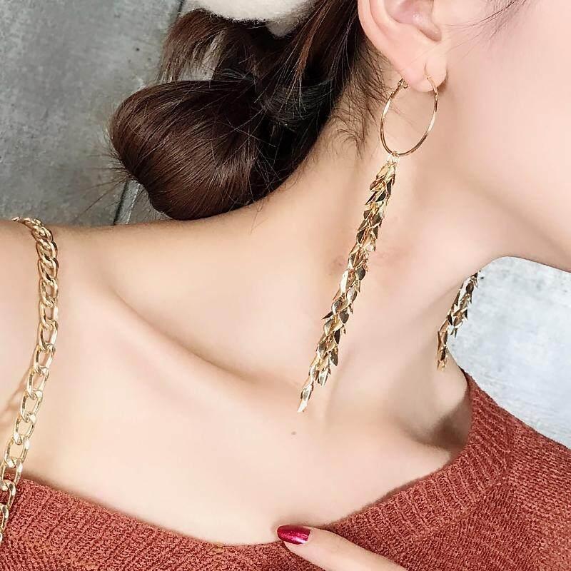 【Paku gandum】Anting rumbai kepribadian korea temperamen anting-anting logam berlebihan panjang 925