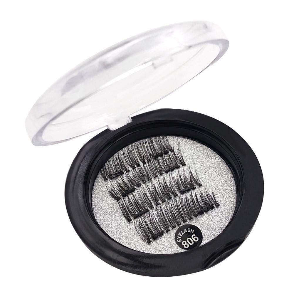 4pcs/Box 6D Magnetic False Eyelashes Double Magnet Eye Lashes Makeup Tool(Black)- - intl Philippines