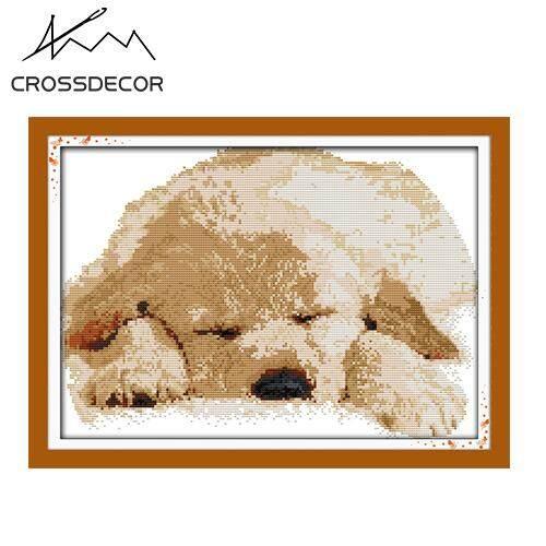 DIY Handmade Cotton Cross Stitch Kits Hot Sale The sleeping baby dog Home Decor  Promotion