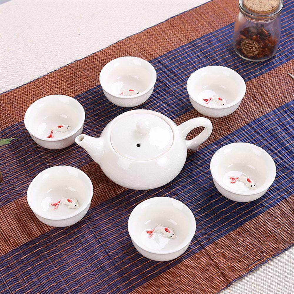 Teapot Premium Celadon Fish Cup Tea Set Gifts Dehua Kung Fu Tea Set Ceramic Porcelain Carp
