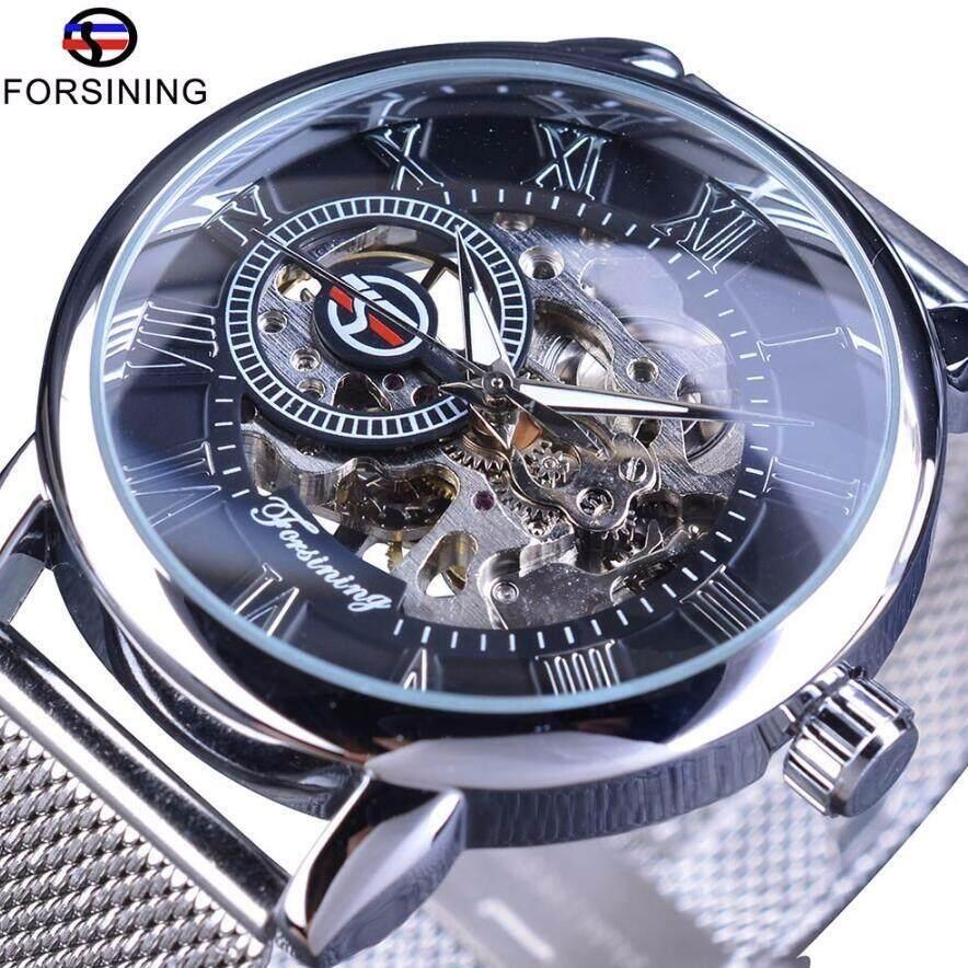 Forsining fashion high-quality hollow mens mechanical watch mesh belt Malaysia