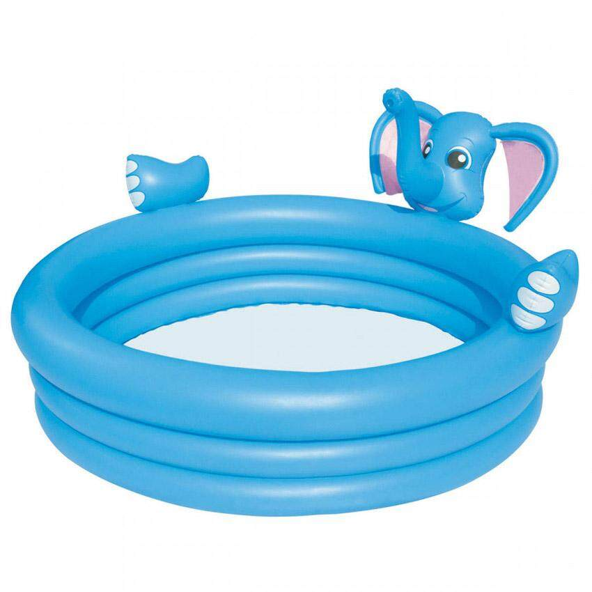Bestway 53048 Inflatable 3-Ring Elephant Spray Pool Kids 1.52m x 1.52m x 74cm Interactive Swim Pool