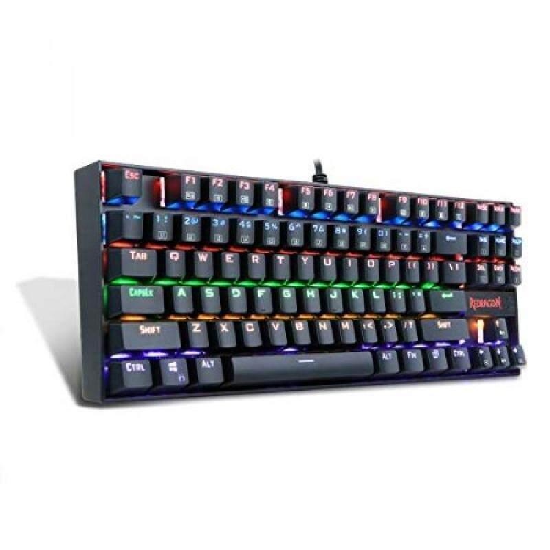 Redragon K552-R KUMARA LED Rainbow Backlit Mechanical Gaming Keyboard Small Mechanical Gamers Keyboard 87 Key Metal Computer USB Gaming Keyboard for PC Quiet Cherry MX Blue Equivalent (Black) Singapore