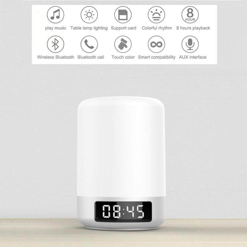 niceEshop Multifunction 5W Smart Touch Wireless Bluetooth Speaker Music Clock LED Bedside Lamp Dimmable Colorful Night Light - intl Singapore