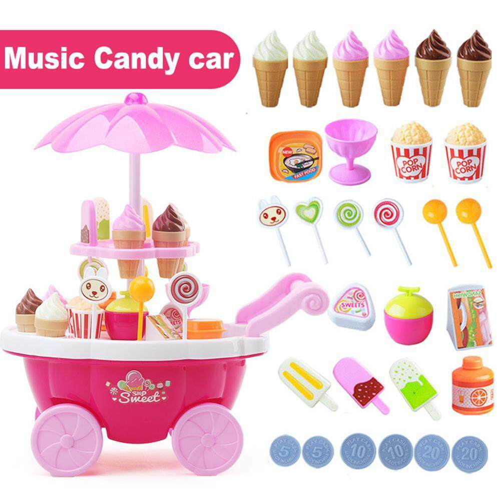 Vankel Ice Cream Candy Cart, Vankel 39pcs Rotating Ice Cream Candy Trolley Carts Pretend Play Food Set, Supermarket Trolley Toys With Rotating Light And Melody For Girls Boys And Toddlers Kids By Vankel.