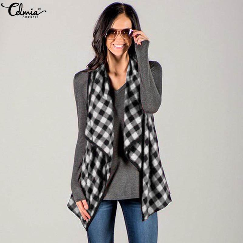 Celmia Womens Casual Comfy Lapel Sleeveless Plaid&check Long Waistcoat By Celmia Official Store.