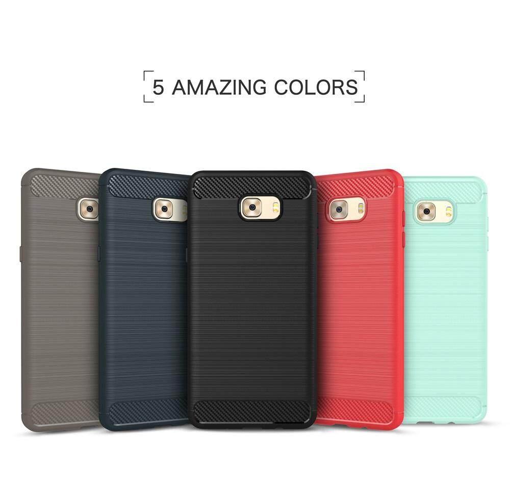 TPU Serat Karbon Desain Case Cover dengan Bingkai Bumper untuk Samsung Galaxy C8-Intl