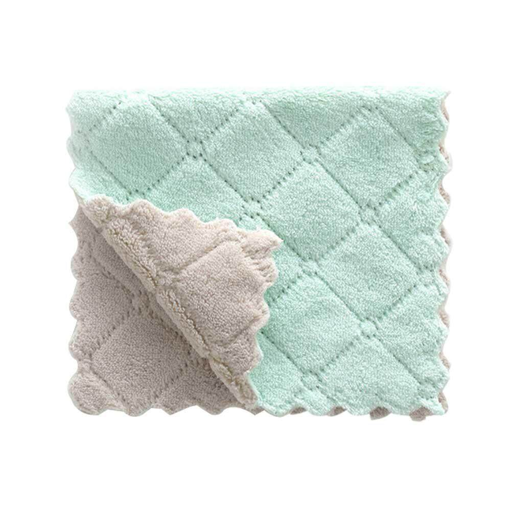 Kobwa Coral Velvet Dish Cloth Non-Stick Oil Two-Color Rag / Absorbent Double-Sided Thick Dish Towel Wipes By Kobwa Direct.