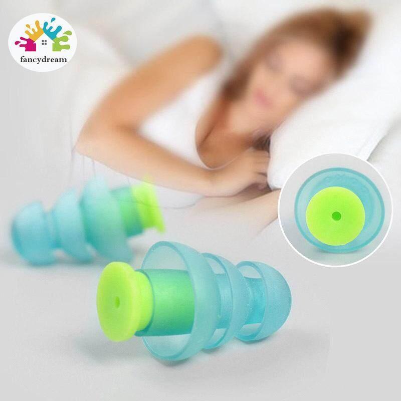 Fancydream 1 Pair Kebisingan Membatalkan Penyumbat Telinga Silikon Pelindung Pendengaran Earplug untuk Belajar Tidur Bekerja