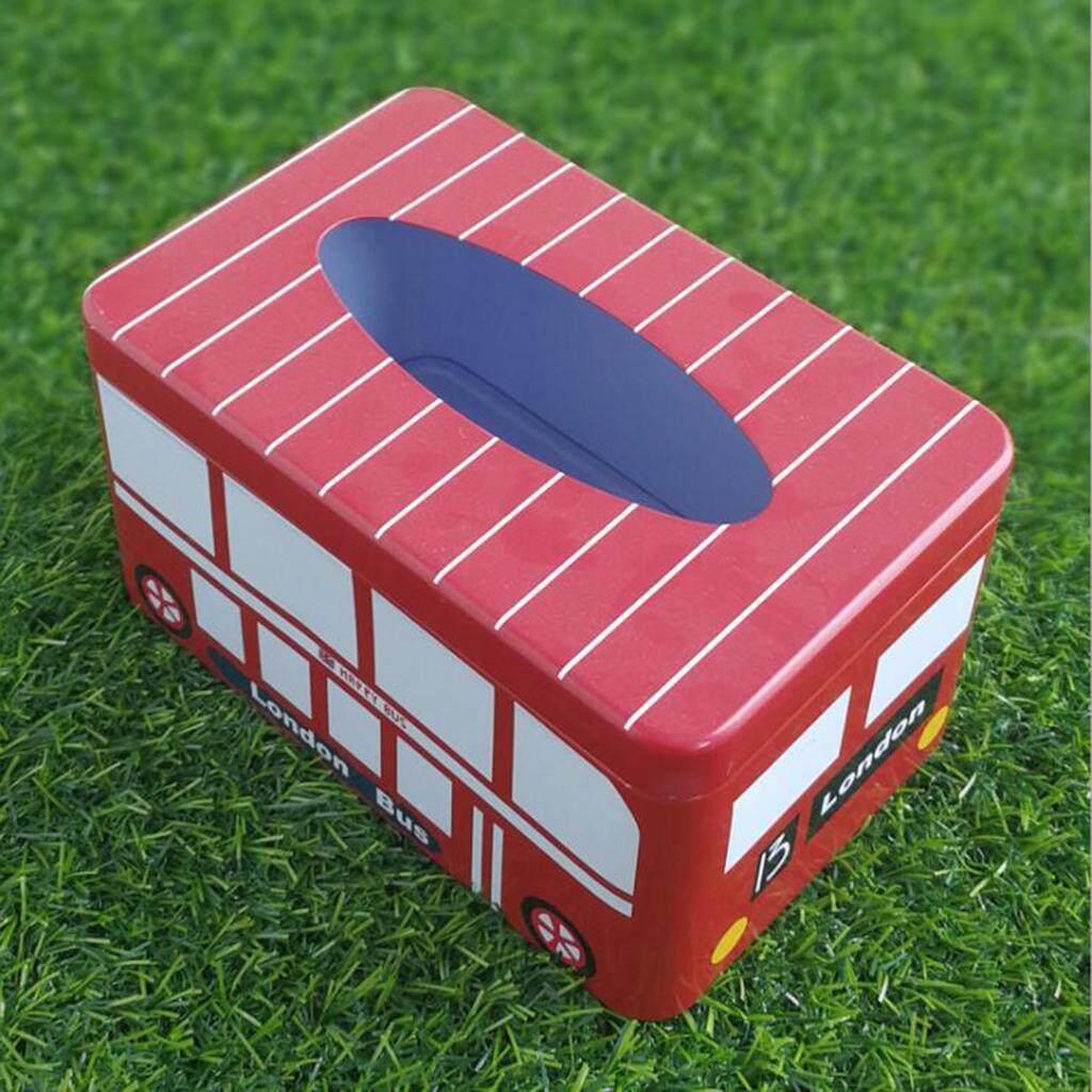 Dolity Tissue Box Tin Napkin Holder Case Car Paper Storage Container Bus