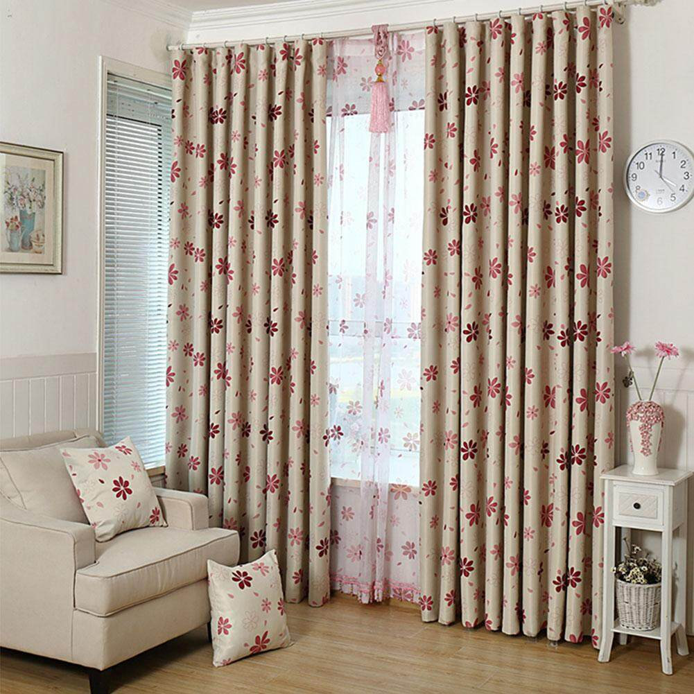 Blinds Shadow Floral Living Room Blackout Curtain Window Bedroom Drapes
