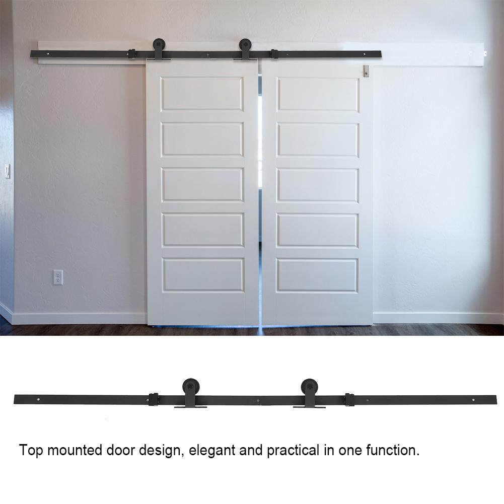 6.6ft Top Mounted Black Sliding Barn Door Hardware Easy Install Wooden Doors Track Kit
