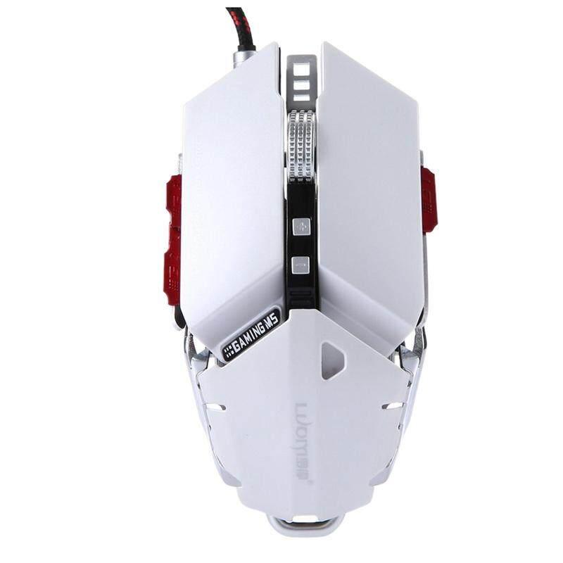 Luom G50 Kabel Programmable 10 Tombol 4000 DPI Profesional Mekanis Optical Ergonomi Mouse Gaming, Putih-Intl