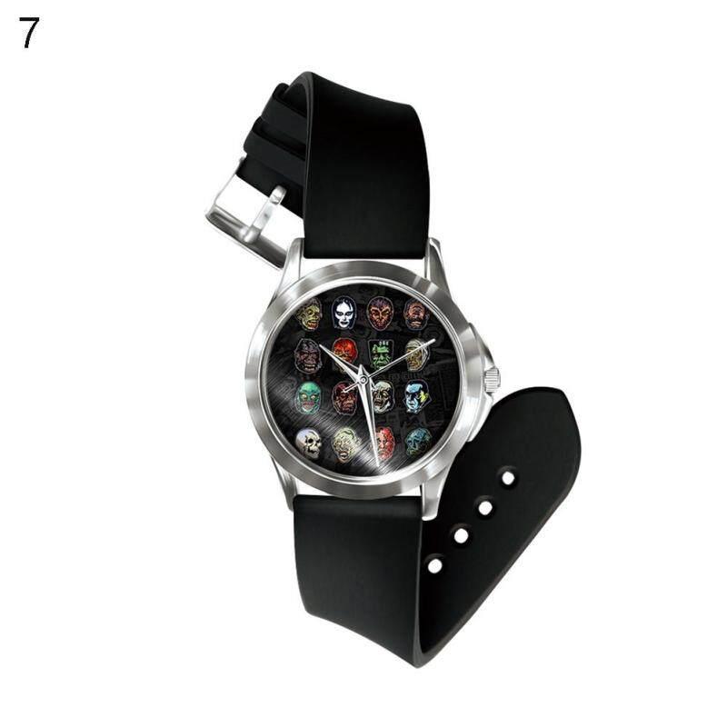 Phoenix B2C Halloween Skull Horror Punk Design PVC Band Quartz Analog Display Wrist Watch (7#) Malaysia