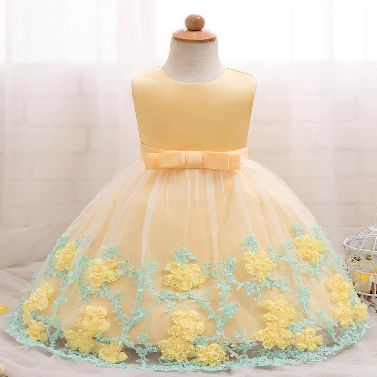 94dc4457a8ac6 Baby Girl Floral Dress Baptism Dresses For Girls Princess Birthday Wedding Christening  Gown Baby Infant Party