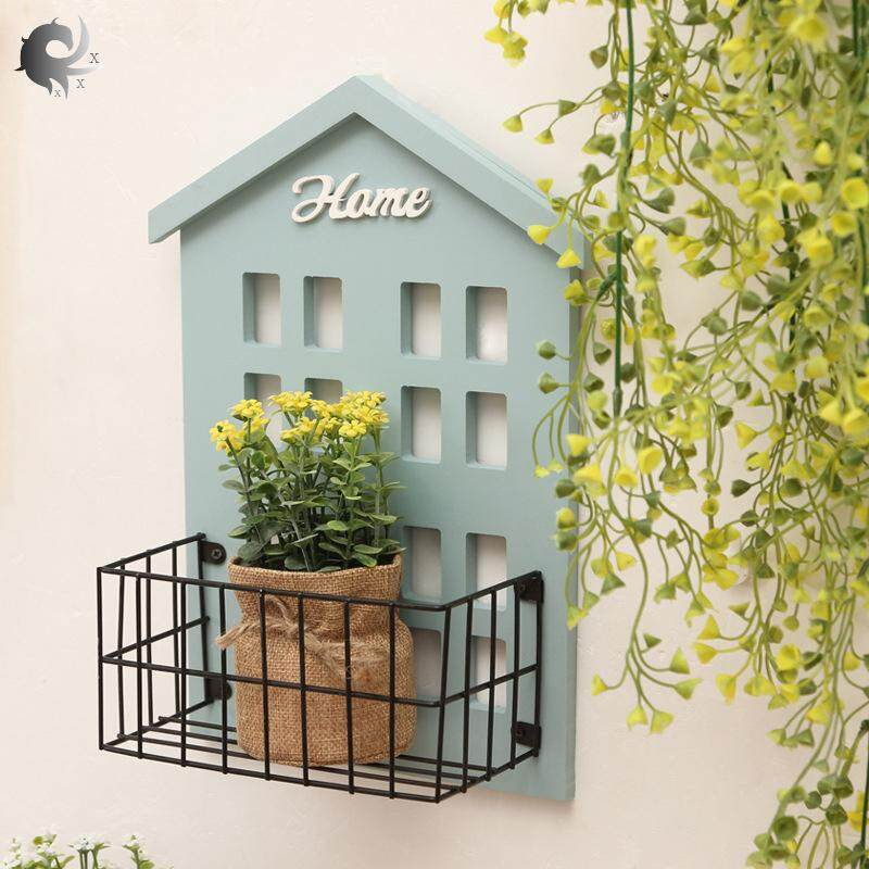 Wooden shelf, creative, multi-functional, living room, wall, sundries storage rack, wall hanging partition, wall decoration, high quality wooden material (22.2*9.4*31cm)