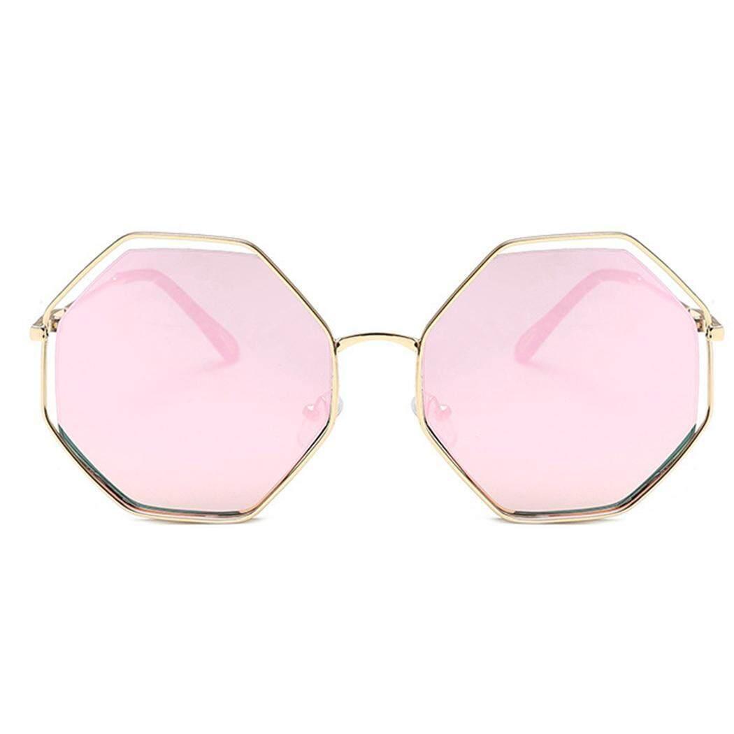 Cyber Obral Cuci Gudang Pria Wanita Kacamata Hitam Poligon Mirrored Flat Bingkai Logam Lensa UV 400 Sunglasses (#6)-Intl