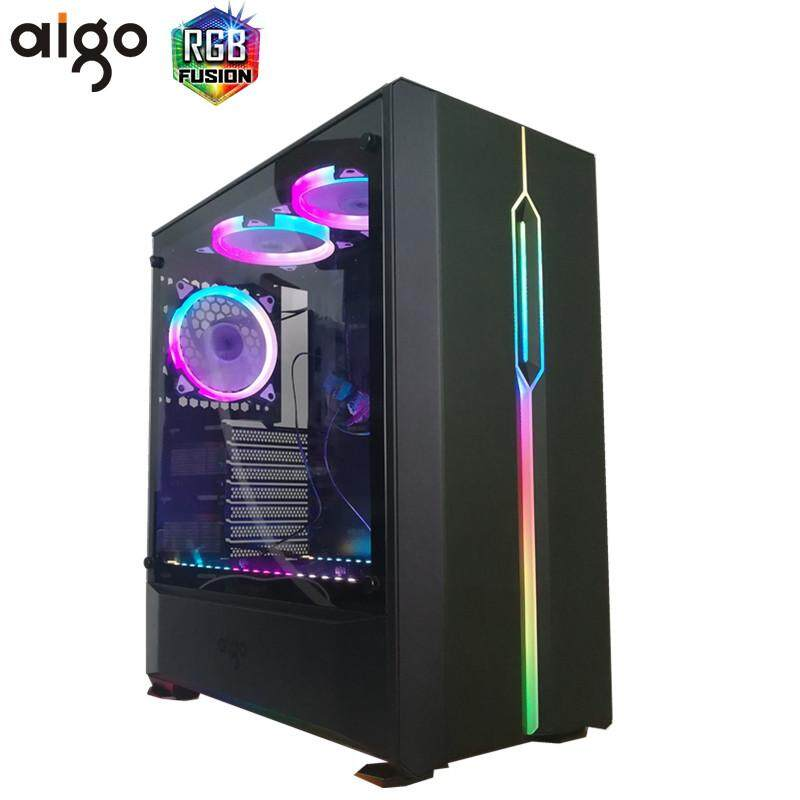 2018 New Aigo T20 Black ATX MidTower Desktop Computer Gaming Case Tempered Glass Malaysia