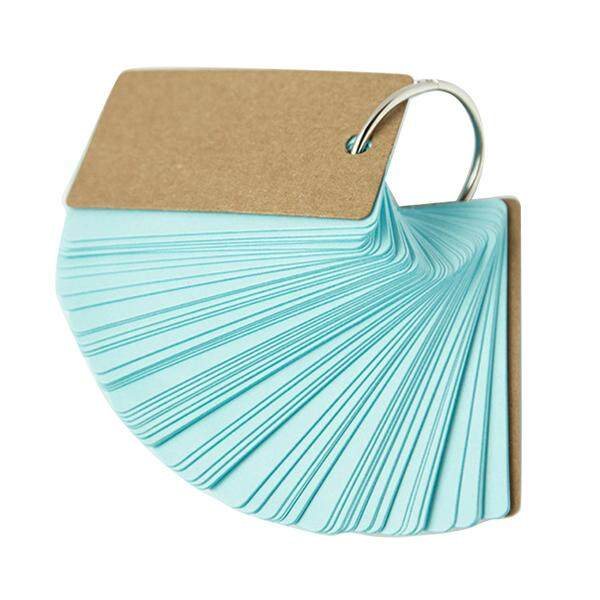 2pcs Binder Ring Easy Flip Flash Cards Study Cards, 100 Blank Pages,blue