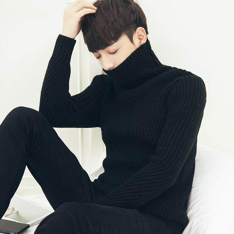 Musim Gugur dan Musim Dingin Pria Tebal Tinggi Leher Sweater Versi Korea Jaket Sweater Kepala Sweater