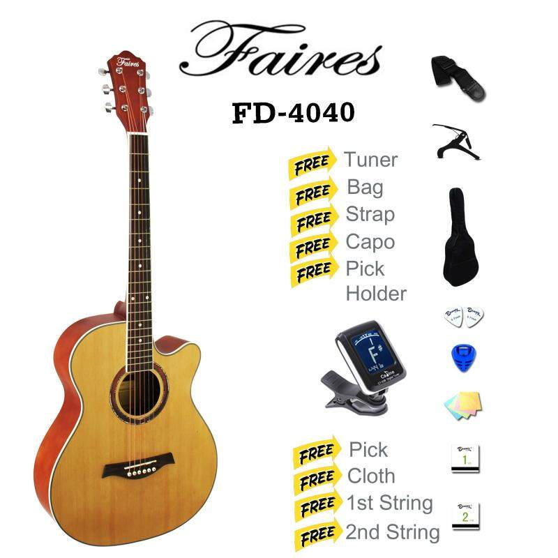 Faires 40 Inch Cut-Away Acoustic Guitar SET Malaysia