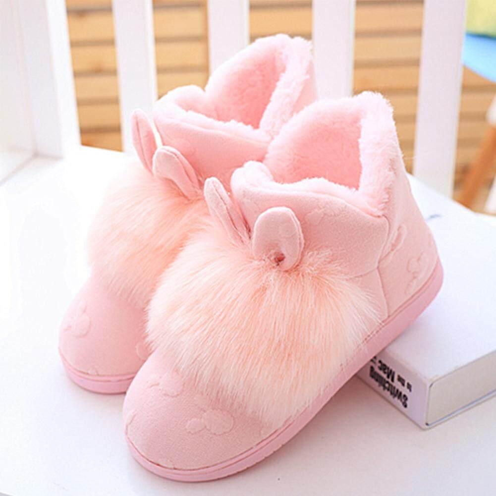 ผู้หญิง Winter Warm Plush กระต่ายหูหนาลื่นรองเท้าบ้าน - Intl.