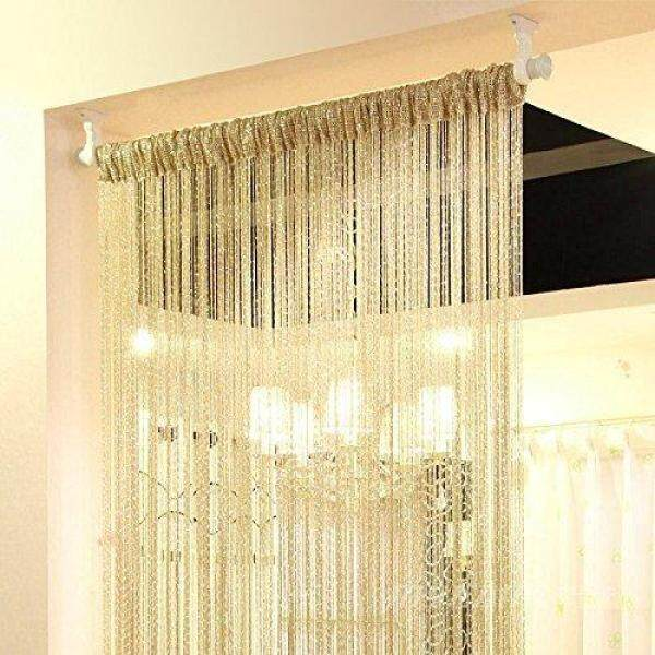 3Pcs String Door Curtain Beads Window Panel Room Divider Crystal Tassel Fringe Beaded # Gold