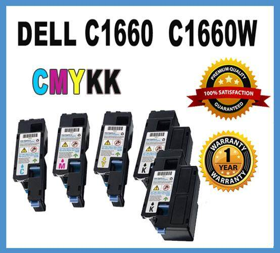 DELL C1660w / C1660 Compatible Toner Colour Full Set Toner Cartridge (5 Units) CYMKK