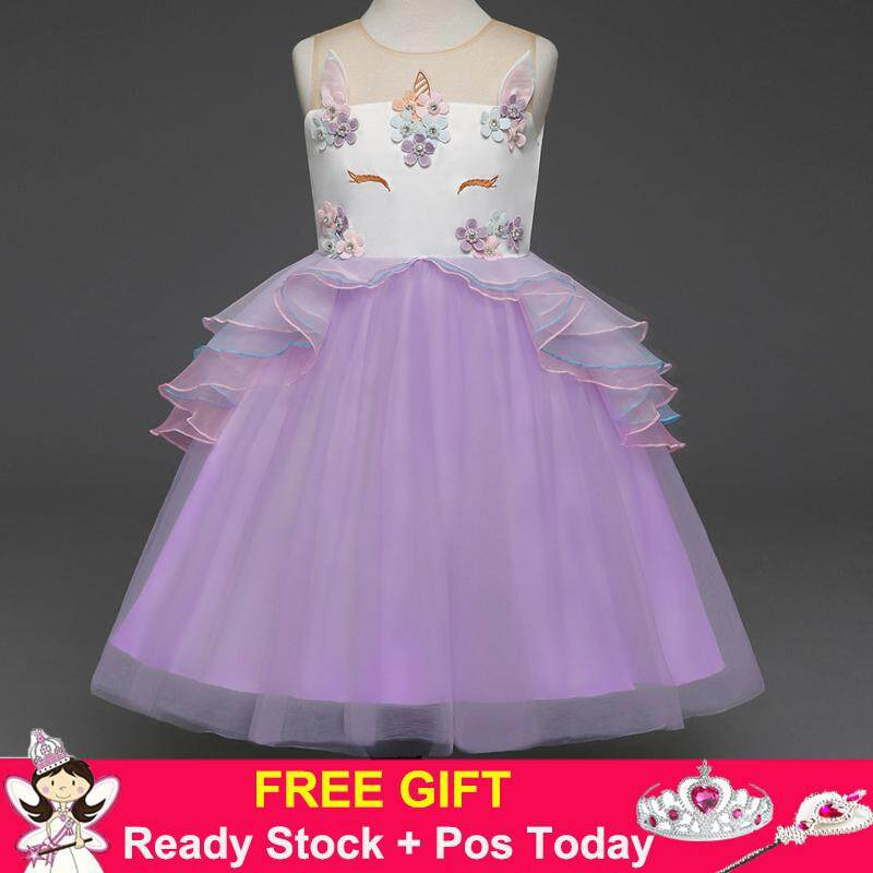 6dc03708f273d Fancy Kids Unicorn Tulle Embroidery Ball Gown Flower Girl Princess Party  Dresses