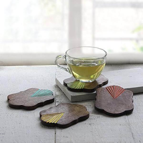 Storeindya Toko Indya dari 4 Tatakan Gelas Kayu Non-selip Melindungi Furniture dari Noda Air & Kerusakan (Warna-warni tatakan Gelas) -Internasional