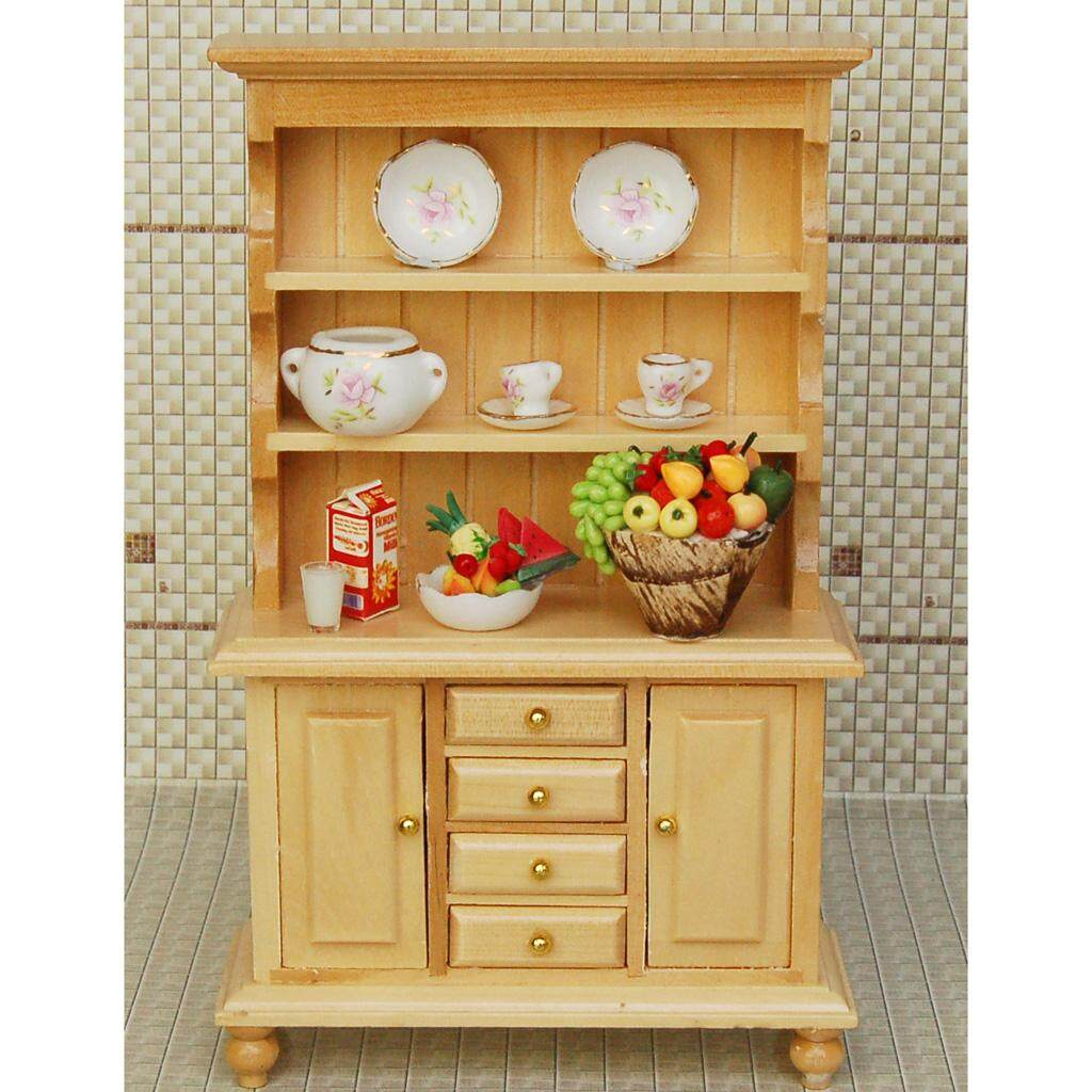 Bolehdeals Retro 1 12 Wood Bookshelf Bookcase Cabinet Cupboard Dollhouse Reading Room Kitchen Miniature Display