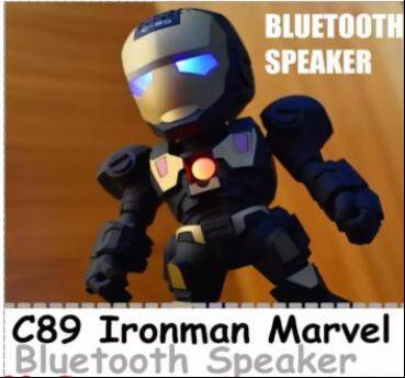 C-89 Iron Man Wireless Bluetooth Speakers with LED Flashing MP3 Speaker