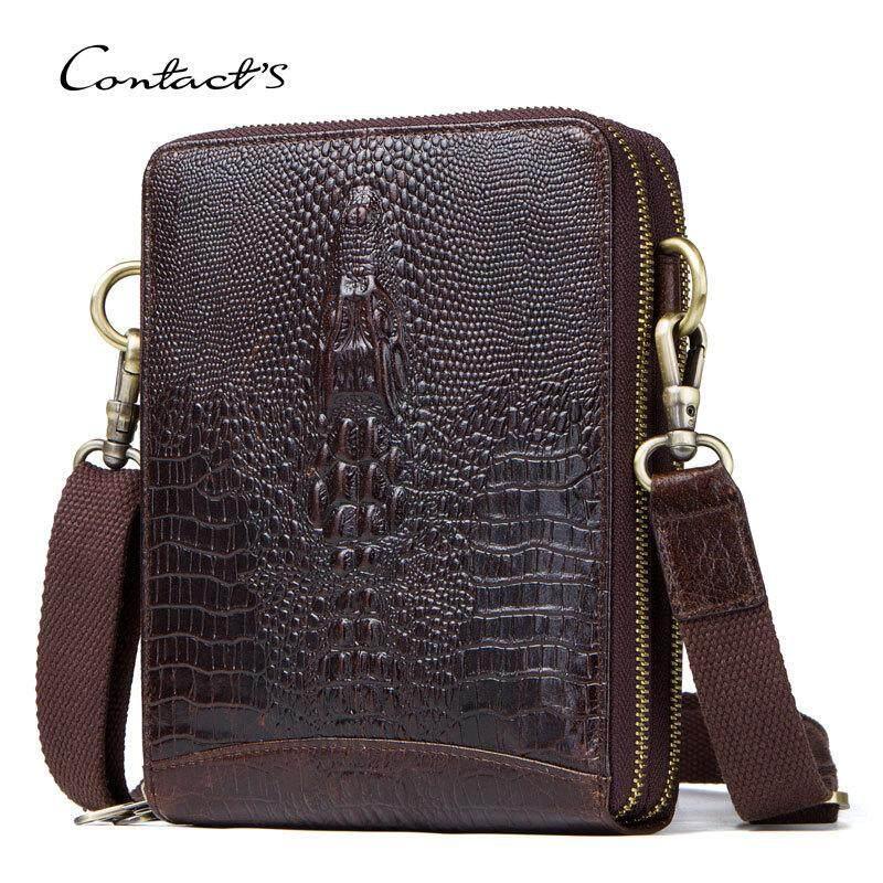 43c3599bf764 Top Quality Men Messenger Shoulder Bag Genuine Leather Vintage Men s  Crocodile Crossbody Bag With Card Holder