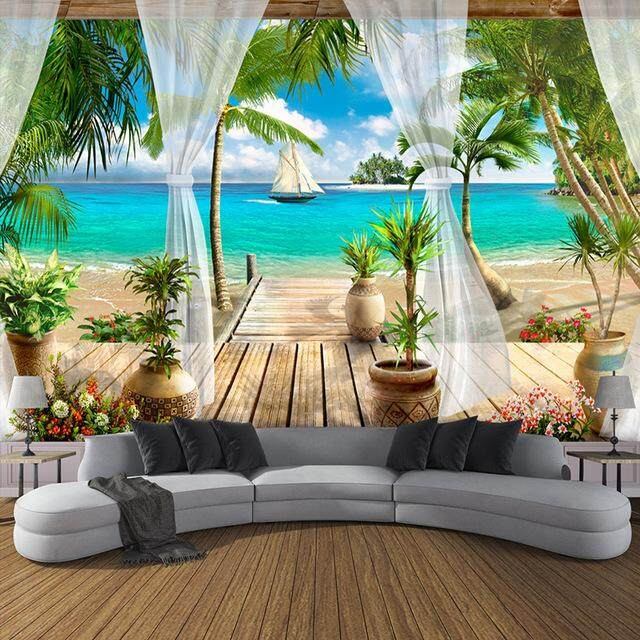 wall stickers for sale wall decals prices, brands \u0026 review incustom wallpaper sticker beach balcony for living room sofa tv 3d mural wallpaper home decoration
