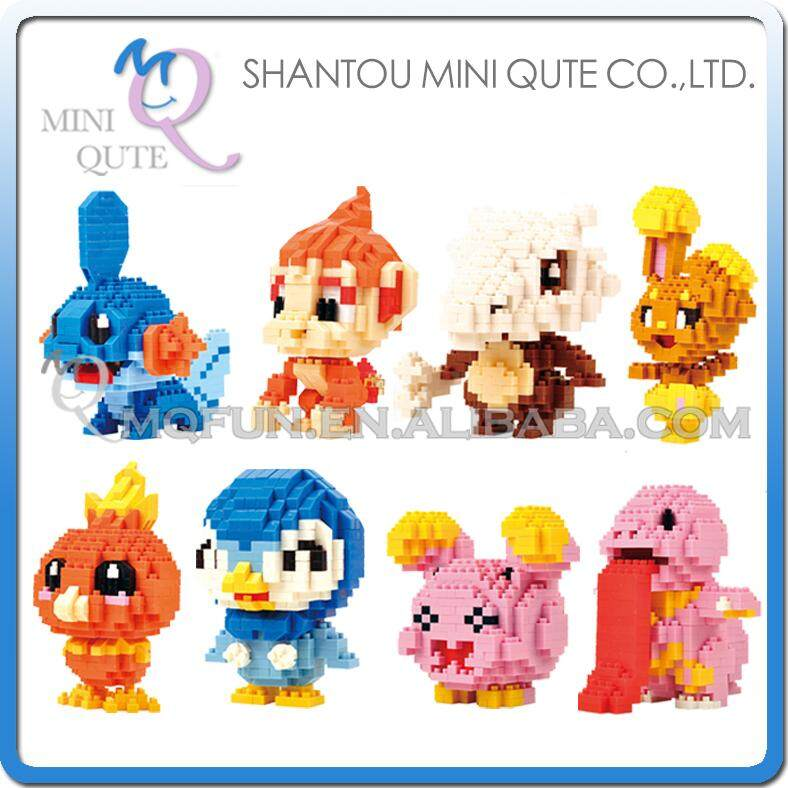 8pcs/lot Mini Qute LNO Anime Mudkip Lickitung Whismur Piplup Torchic Cubone Chinchar plastic building blocks educational toy