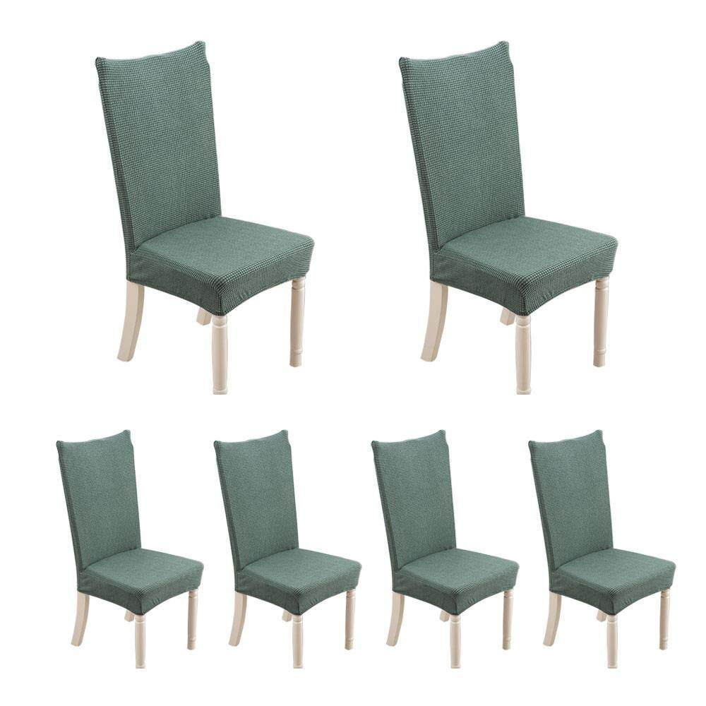 leegoal 6pcs Short Dining Room Chair Covers Stretch Removable Washable Short Dining Chair Protector For Home Party Hotel Wedding Ceremon